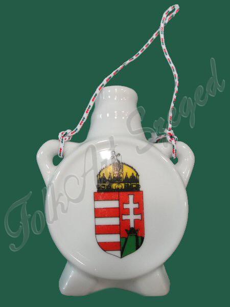 """675. Porcelán, címeres mini kulacs """"Hungary"""" felirattal, kalocsai motívummal"""