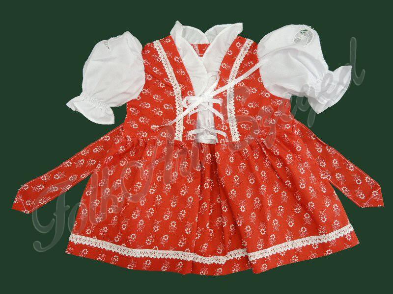 980.  Lányka vászonruha, piros alapon virágos mintával