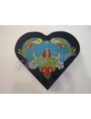 1174. Festett fa, tükrös szív ékszerdoboz