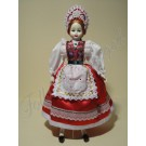 87. Porcelán baba magyaros öltözetben, 36 cm