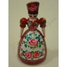 196. Dobozos pártás baba, piros alapon színes, festett virágmotívumokkal