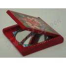 200. Pipere tükör, piros alapon színes, festett virágmotívumokkal