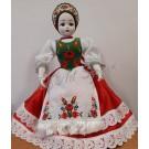 88.  Porcelán baba, magyaros öltözetben, 50 cm
