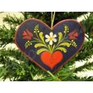 """1102. Fenyődísz, festett fa, kis szív, színes  """"kalocsai""""  mintával"""
