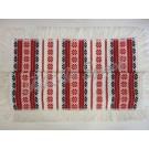 309. Szőttes terítő, rojtos, sűrű csillagvirágos, piros 90 x 90 cm