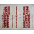 310. Szőttes terítő, szegett , fehér alapon piros csillagvirágos 80 x 80 cm