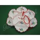355. Zsemletartó, színes, kalocsai, paprikás mintával, zsinórral összehúzható, dekoratív tálaló