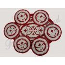 480. Debreceni szűrrátétes filc 7 db-os garnitúra leveles mintával, ovál, piros-fehér