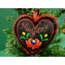 """596. Karácsonyi, kézműves, filc szív fenyődísz, """"Hungary"""" felirattal, fekete, színes hímzéssel, 10 cm"""