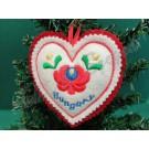 """597. Karácsonyi, kézműves, filc szív fenyődísz, """"Hungary"""" felirattal, fehér, színes hímzéssel, 10 cm"""