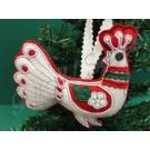 608. Karácsonyi, filc szűrrátétes fenyődísz, páva, fehér, 12 cm