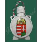 """676. Porcelán, címeres közepes kulacs """"Hungary"""" felirattal, kalocsai motívummal"""