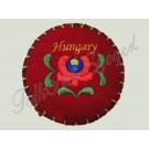 """695. Hímzett, filc doboz matyó mintával, """"Hungary"""" felirattal, piros, kerek, 7 cm"""