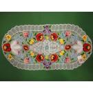 241. Kalocsai, rishelt szélű futó, színes virágos, ovál, 35 x 70 cm