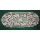 242. Kalocsai, rishelt szélű futó, ekrü, virágos, ovál, 30 x 80 cm