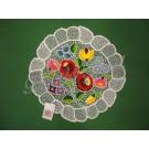 232. Kalocsai, körben rishelt, virágos alátét, színes, 2 rózsás, kerek, 30 cm