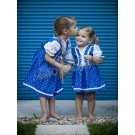 979.  Lányka vászonruha, kékfestő virágos mintával